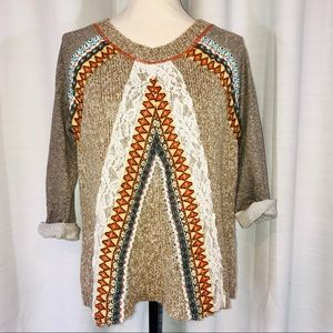 BKE boho lightweight sweater short sleeve size S